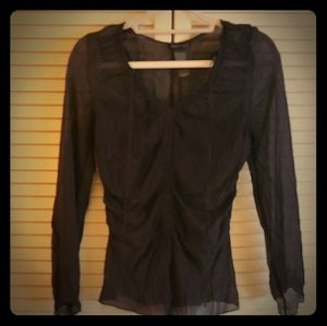 Black silk see-through long sleeve with ruchung